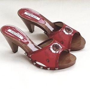 VERSACE Wood & Floral Sandals